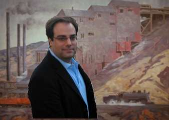 manipulated photo placing Joel Spolsky in front of a coal mine